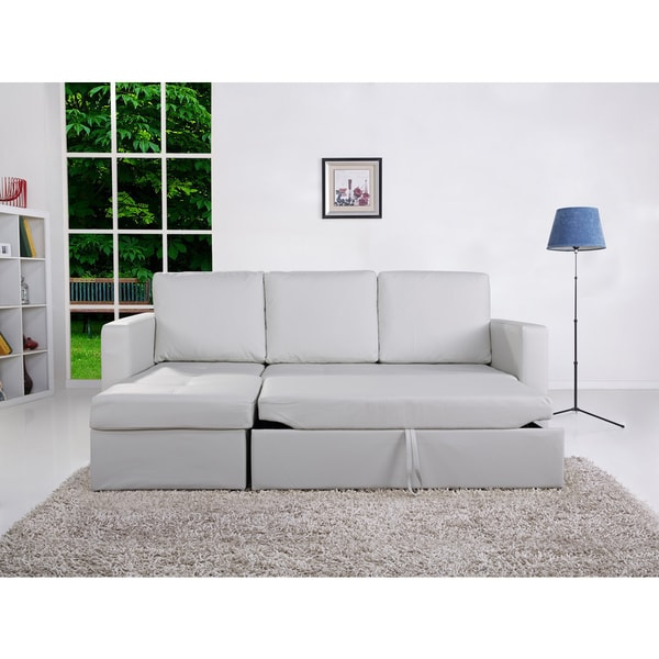 the-Hom Saleen 2-piece Bi-cast White Leather Left-facing Sectional Sofa Bed with Storage and Cupholders