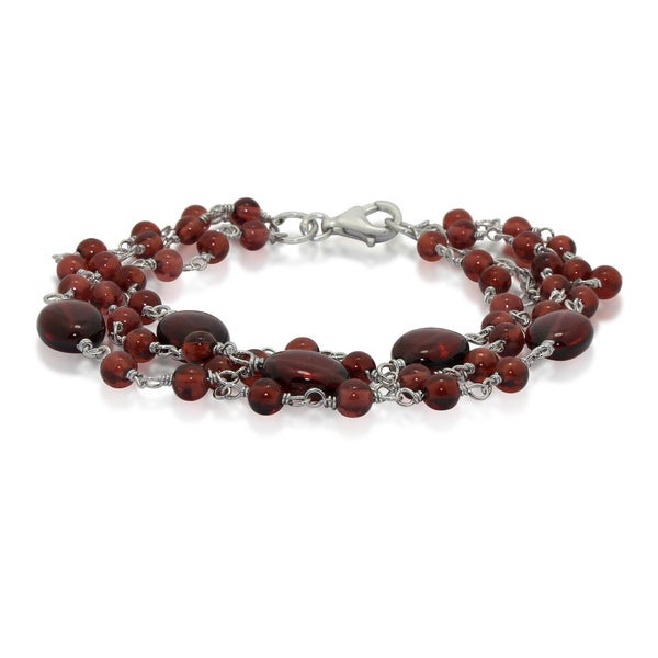 Sterling Silver 3-strand Beaded Gemstone Bracelet