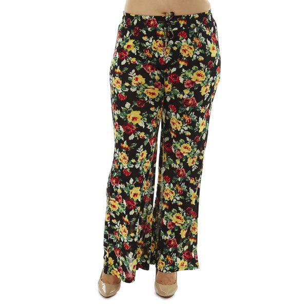 Women's Plus Size Black Floral Print Palazzo Pants