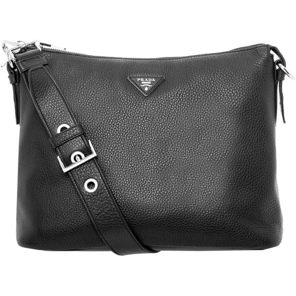 Prada Black Grainy Leather Hobo Bag
