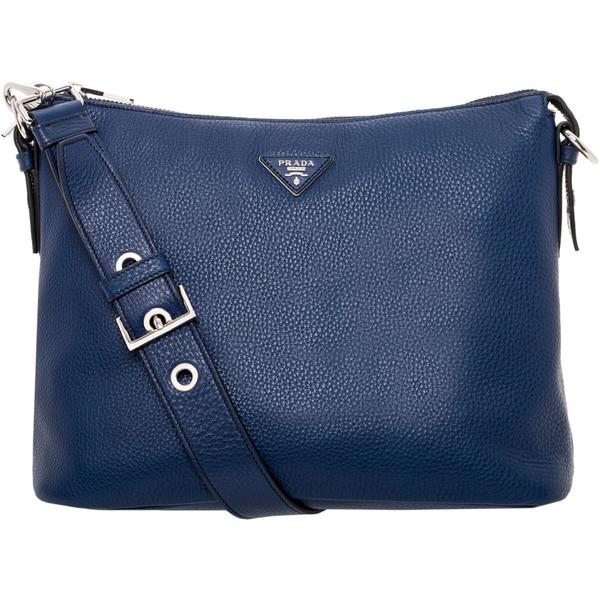 Prada Indigo Grainy Leather Hobo Bag - 17228247 - Overstock.com ...