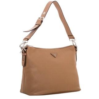 Prada Khaki Grainy Leather Hobo Bag
