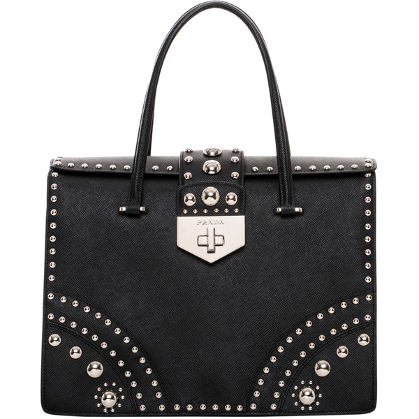 Prada Black Leather Studded Shopper Bag