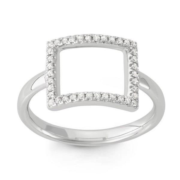 14k White Gold Diamond Accent Open Rectangle Midi Ring