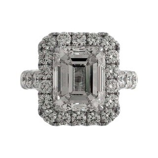 18k White Gold 6 3/4ct TDW Emerald-cut Diamond Halo Engagement Ring (J, VS)