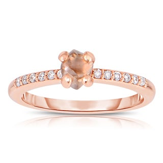 Eloquence 14k Rose Gold, 4/5ct TDW Natural Champagne Rough Diamond Fashion Ring (Brown, SI1-SI2)