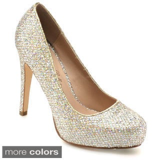 De Blossom Collection Women's 'Summer-33' Glitter Slip-on Classic Dress Pumps