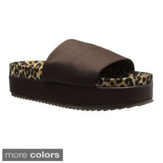 Qupid Women's 'Jupiter-01' Leopard Slip-on Platform Sandals