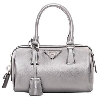 Prada Mini Silver Saffiano Leather Top Handle Bag
