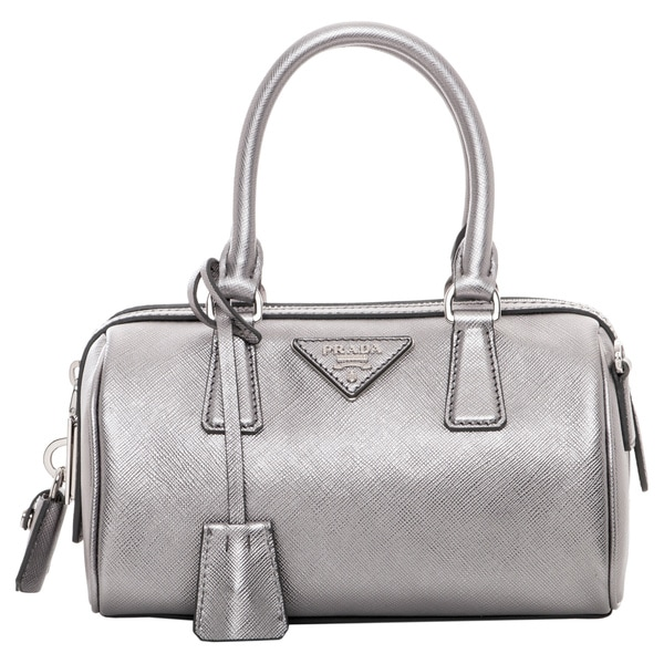 Prada Mini Silver Saffiano Leather Top Handle Bag
