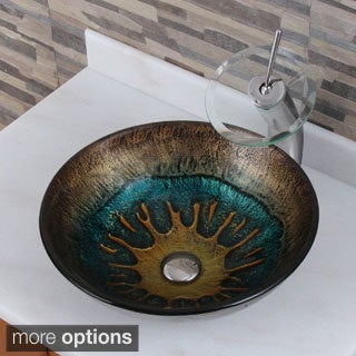Volcanic Pattern Tempered Glass Bathroom Vessel Sink and Waterfall Faucet Combo
