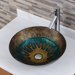 Volcanic Pattern Glass Bathroom Vessel Sink With Faucet Combo