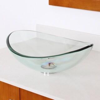 Unique Oval Transparent Tempered Glass Bathroom Vessel Sink
