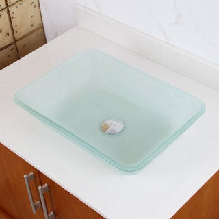 Rectangle Frosted Tempered Glass Bathroom Vessel Sink
