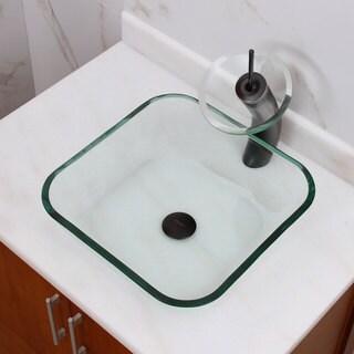 Transparent Square Tempered Glass Bathroom Vessel Sink