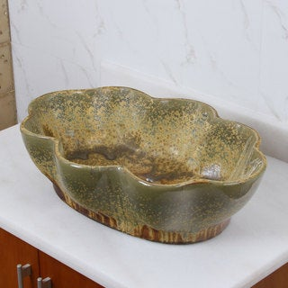 Lotus Shape Multicolor Glaze Porcelain Ceramic Bathroom Vessel Sink