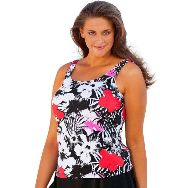 Beach Belle Newspaper Floral Tankini Top