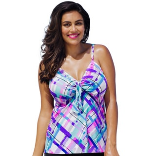 Shore Club Watercolor Me Happy Tie Front Tankini Top