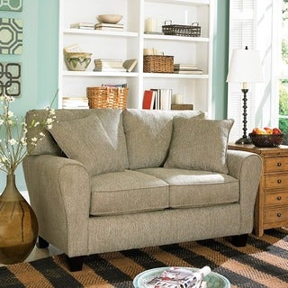 Sofab Angel II Pewter Chenille Love Seat with Two Toss Pillows