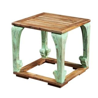 Decorative Fox Distressed Tan and Green Square Accent Table