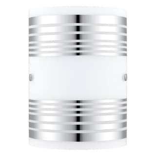 Eglo Bayman 1-light Chrome Wall Light with White Decor Glass