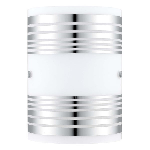 Eglo Bayman - 1 x 60W Wall Light with Chrome Finish and White Decor Glass