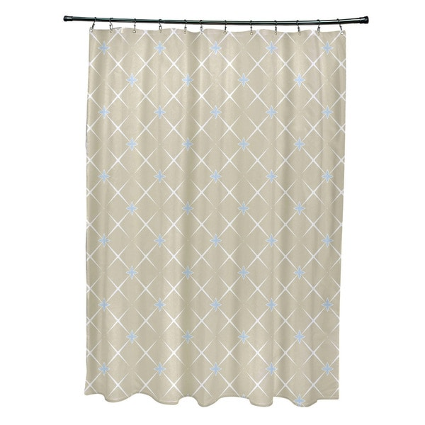 Exclusive Geometric Lattice Print Shower Curtain