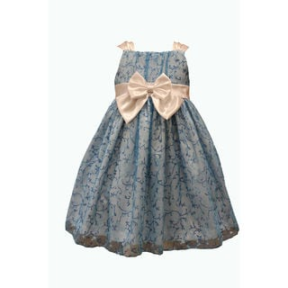Mia Juliana Baby Girls' Glitter Dress with Satin Trim