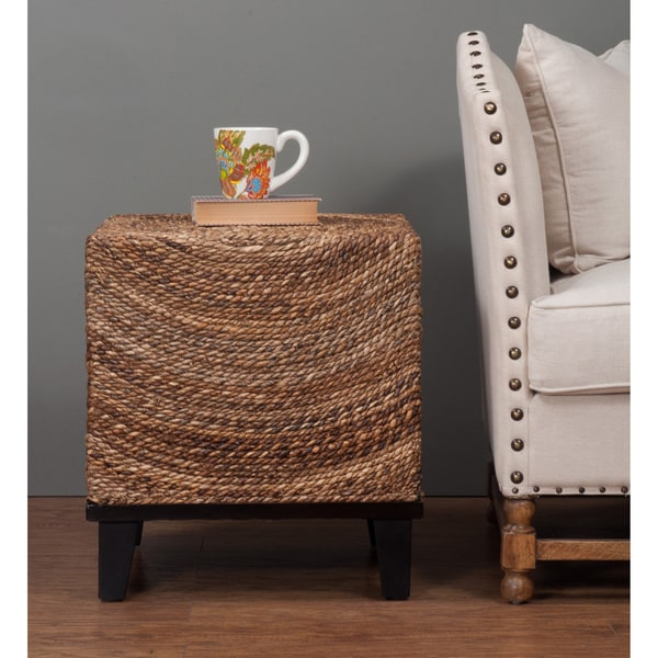 Elkton Natural Woven Woodgrain Square Accent Table