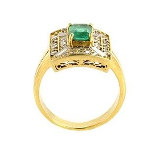 Antique 14k Yellow Gold Emerald 2ct TDW Diamond Estate Ring (G-H, SI1-SI2)(Size 7)