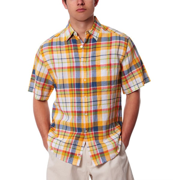 Men's Straw Plaid Linen Shirt