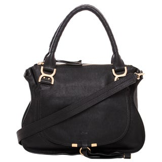 Chloe Marcie Black Leather Satchel