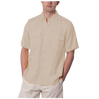 Men's Natural Two Flap Pocket Linen Shirt