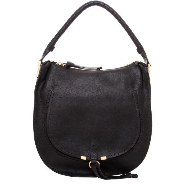 Chloe Pure Marcie Black Leather Hobo Bag - 17228570 - Overstock ...