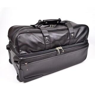 Royce Leather Rolling Trolley Duffel Bag