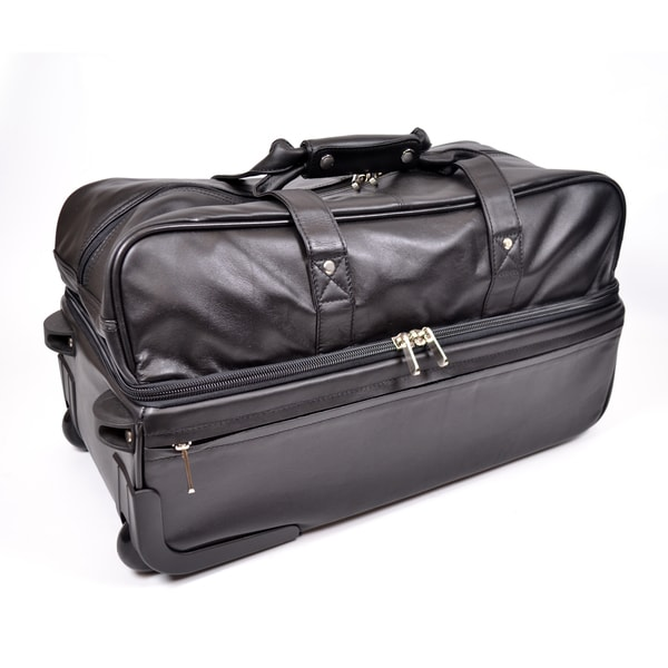 Royce Leather Rolling Trolley Duffel Bag