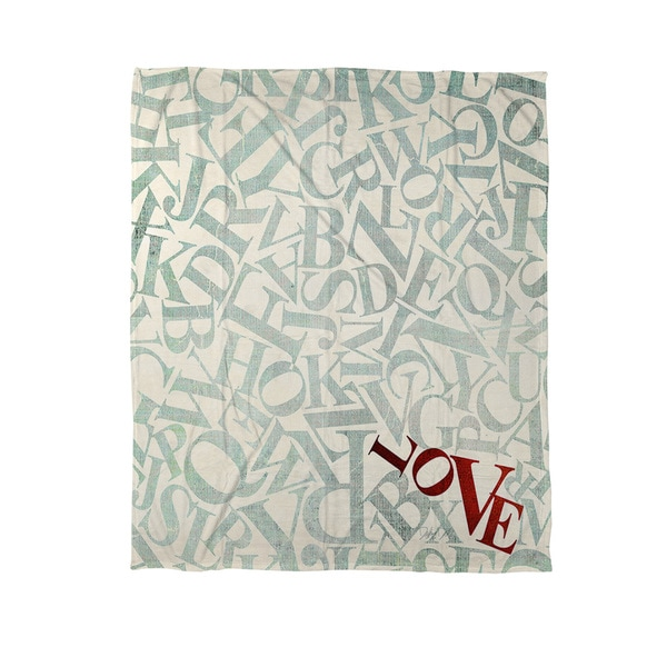Thumbprintz Love Alphabet Jumble Coral Fleece Throw