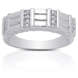 Finesque Silver Overlay Diamond Accent Ring