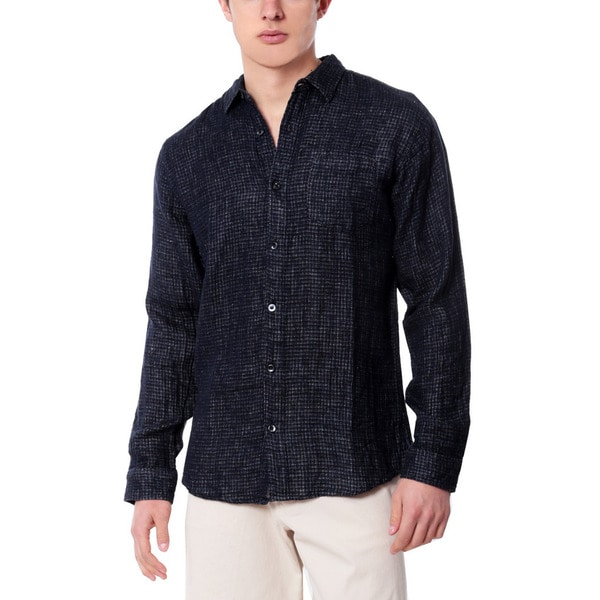 Men's Navy Check Linen Shirt