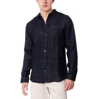 Men's Navy Check Linen Shirt