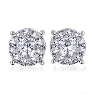 14k White Gold 1 1/2ct TDW Diamond Unity Earrings (H-I, I2-I3)
