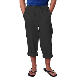 Men's Black Drawstring Linen Pants
