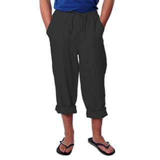 Men's Black Drawstring Linen Pants