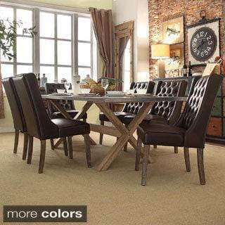 INSPIRE Q Aberdeen Industrial Zinc Top Weathered Oak Trestle Wingback 7-Piece Dining Set