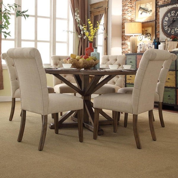 rustic x base round pine wood rolled back 7 piece dining set