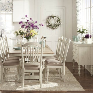 TRIBECCA HOME McKay Country Antique White Pedestal Extending Dining Set