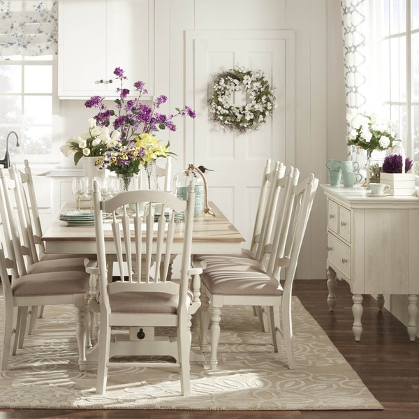 home mckay country antique white pedestal extending dining table