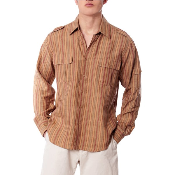 Men's Red Stripe Western Stripe Linen Shirt