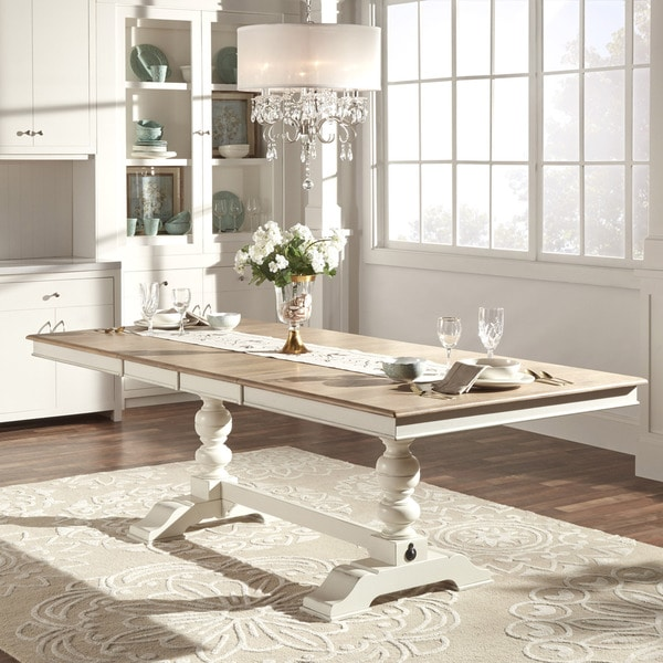 TRIBECCA HOME McKay Country Antique White Pedestal Extending Dining Table