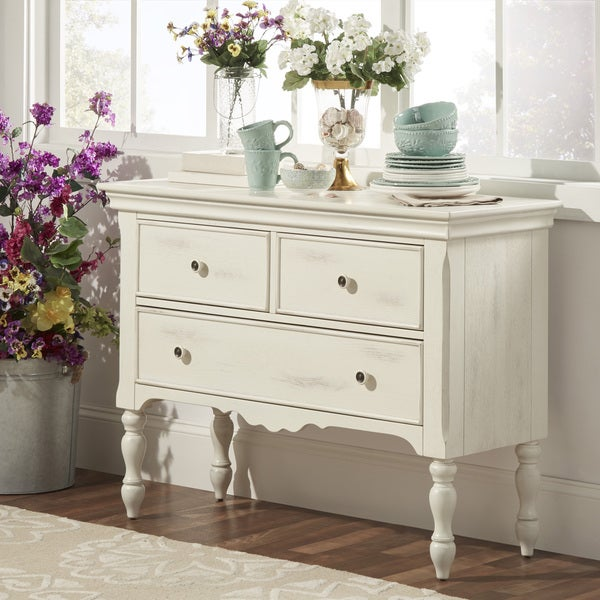 White Sideboards And Buffets: TRIBECCA HOME McKay Country Antique White Buffet Storage